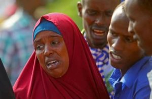 Family members crying in Madina hospital in Mogadishu after her brother was were killed by us forces and Somali military in lower shebbelle Regions on August 25, 2017/ Feisal omar