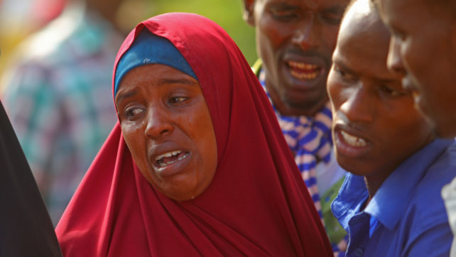 Family members crying in Madina  hospital in Mogadishu after her brother was were killed   by us forces and Somali military in lower shebbelle Regions on August 25, 2017