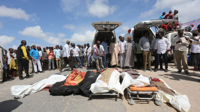 The dead  body of the farmers  who were killed   by us forces and Somali military in lower shebbelle Regions   Bariire village   lay on the ground  outside  Mogadishu  before the take to madina hospital  I Mogadishu   on August 25, 2017 Reuters/FEISAL OMAR